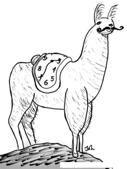 Dibujo De Llama Peruana Con Un Reloj Dettetido En El Lomo Para