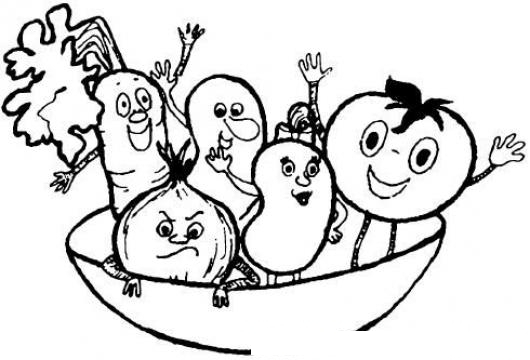 Plato De Verduras Y Vegetales Para Pintar Y Colorear Dibujo De