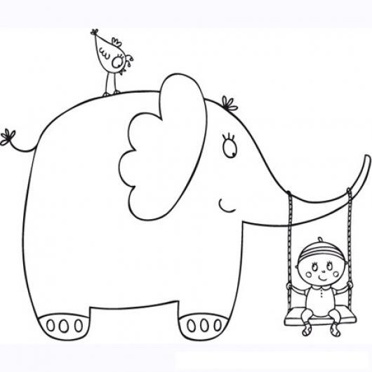 Ddibujo De Elefante Con Bebe Columpiandolo En Un Columpio Para ...