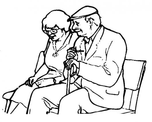Dibujo De Abuelitos Sentados En Una Banca Del Parque Para
