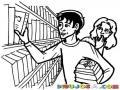 Dibujo De Chico Nerdo Y Estudioso En La Biblioteca Pro Con Pegue Con Las Traidas Para Pintar Y Colorear