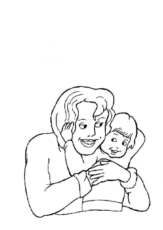 Dbiujo De Hijo Dando Un Abrazo A Mama En El Dia De La Madre Para
