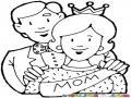 Dibujo De Mama En Su Dia La Reina De La Casa Para Pintar Y Colorear