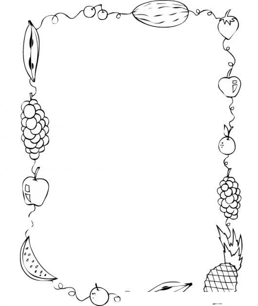 Dibujo de tarjeta en blanco con marco de frutas para - Marcos de fotos para pintar ...