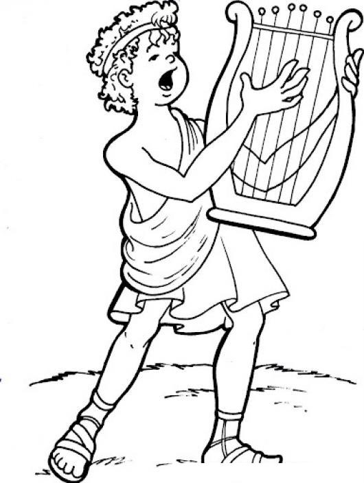 Dibujo Cristiano Del Rey David Tocando El Arpa Para Pintar Y