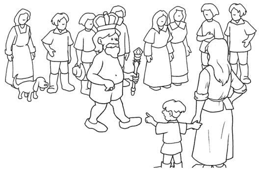Dibujo De Rey Caminando Sin Camisa En Medio De La Gente Del Pueblo