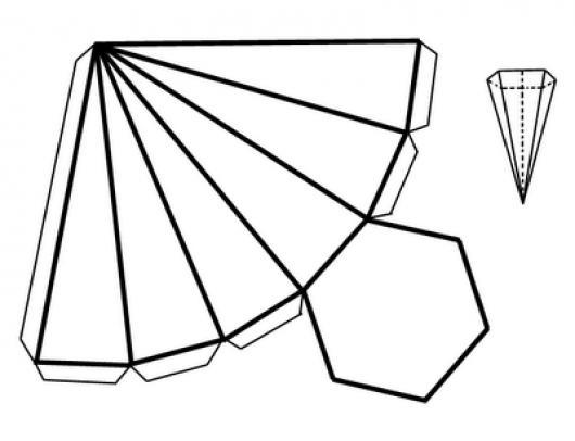 Dibujo De Una Piramide Recortable De 6 Lados Para Recortar Pintar