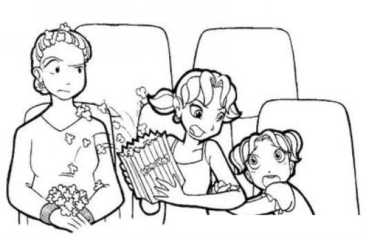Dibujo De Ninas Peleando En El Cine Para Pintar Y Colorear