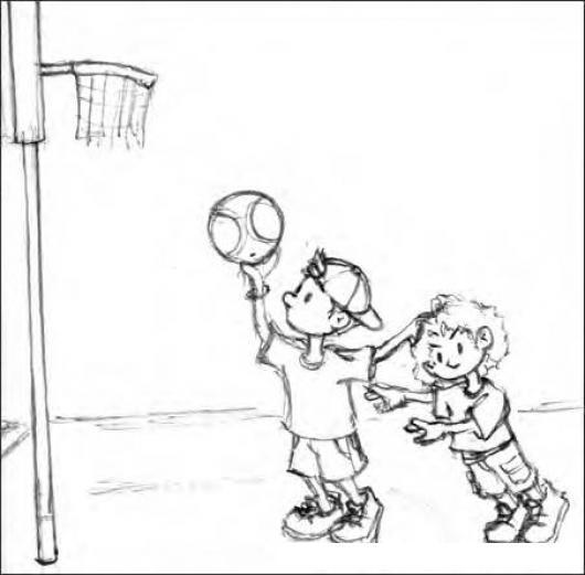 Dibujo De 2 Ninos Jugando Baloncesto Para Pintar Y Colorear ...