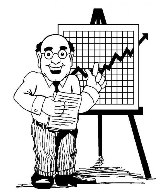 Dibujo de ejecutivo feliz exponiendo el resultado de ventas de la