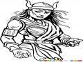 Dibujo De Mujer Vikinga Para Pintar Y Colorear Bikinga