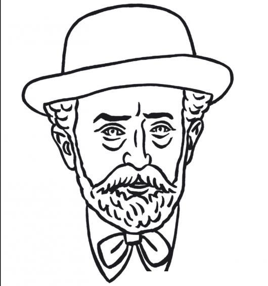 Dibujo De Viejito Elegante Y Barbudo Con Sombrero Para