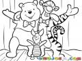 Dibujo De Wuini Pu Con Tiger Y Piglet Para Pintar Y Colorear