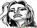 Dibujo De Rostro De Mujer Chata Para Pintar Y Colorear