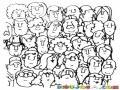 Caras Del Publico Dibujo De Caras De Mucha Gente Para Pintar Y Colorear Muchisimas Caras