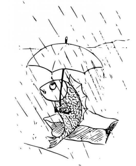 Dibujo De Pez Bajo La Lluvia Con Sombrilla Para Pintar Y Colorear ...