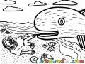 Dibujo Cristiano De Jonas Y El Gran Pez Vomitandolo En La Playa Para Pintar Y Colorear