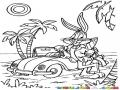 Dibujo De Bugs Bunny En La Playa Con Su Carro Convertible Para Pintar Y Colorear