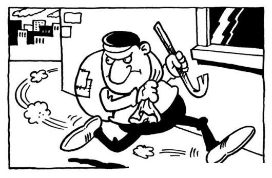 Dibujo De Ladron Corriendo Con Un Costal De Objetos Robados Para
