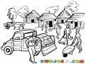 Dibujo De Chozas Africanas Para Pintar Y Colorer Comunidad En Africa