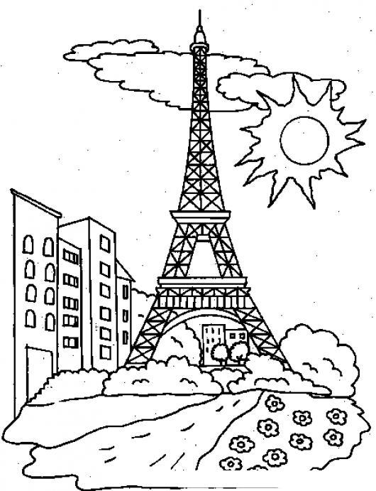 La Torre Eiffel Dibujo Para Colorear Imagui