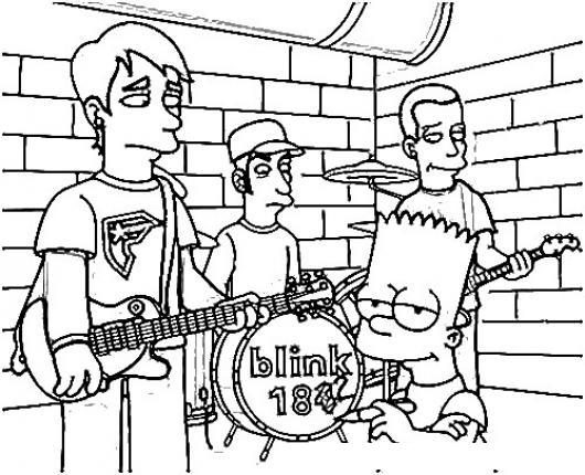 Blink184 Dibujo De Rockeros Blink 184 Con Bart Simpson Para Pintar ...