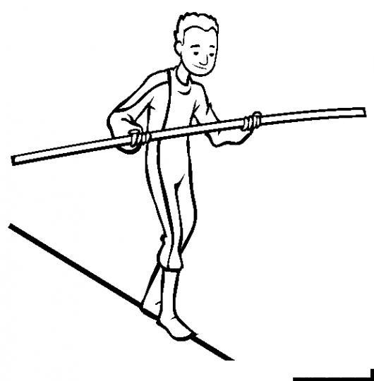 Dibujo De Hombre Equilibrista Caminando Sobre Un Cable Con Una