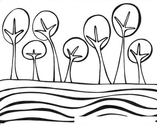 Bosque De Arboles Frente A Un Rio Para Pintar Y Colorear
