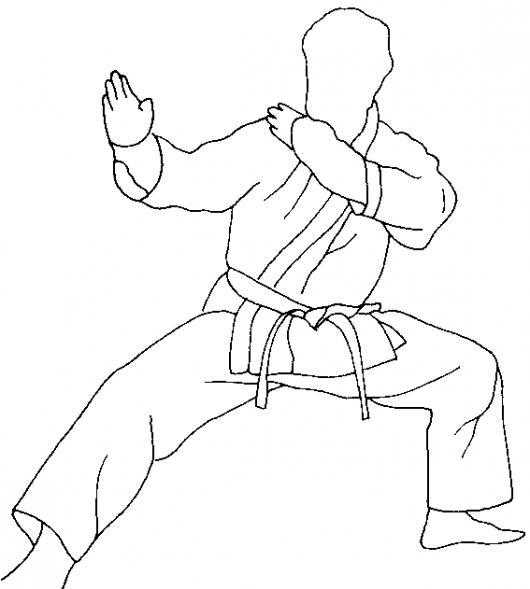 Dibujo De Karateca En Guardia Para Pintar Y Colorear ...