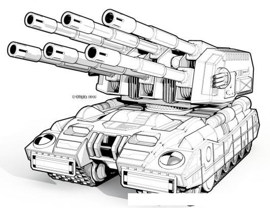 Tanque De Guerra De 6 Canones Para Pintar Y Colorear  COLOREAR