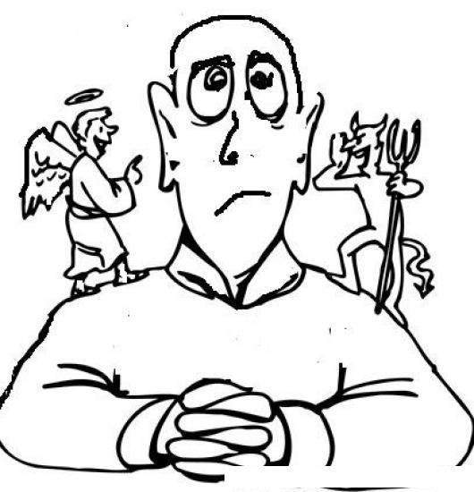 Libre Albedrio E Indecision Dibujo De Hombre Indeciso Escuchando Al ...