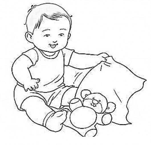 Dibujo de bebe jugando con su osito de peluche para pintar - Dibujos pared bebe ...
