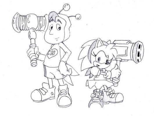 Dibujo Del Chapulin Colorado Con Amy La Novia De Sonic Para Pintar