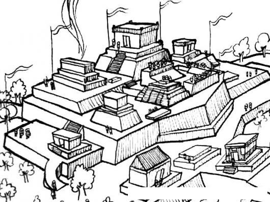 Ruinas Mayas Dibujo De Ciudad Maya Para Pintar Y Colorear Ciudad ...