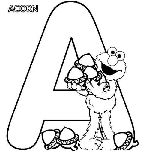 Letra A para colorear con Elmo  COLOREAR DIBUJOS DE LETRAS