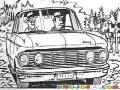 Dibujo De Finqueros En Un Carro Viejo Pasando Frente A Una Vaca Para Pintar Y Colorear
