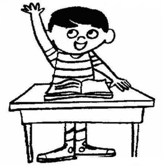 Dibujo de nino estudiante levantando la mano en la escuela - Ninos en clase dibujo ...
