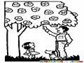 Dibujo De Papap Cortando Flores De Un Arbol Para Su Hija Y Un Perrito Para Pintar Y Colorear