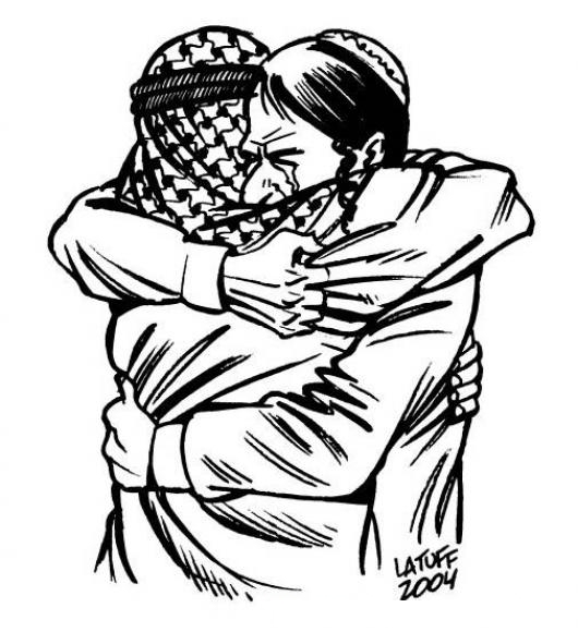 Abrazo Arabe Dibujo De Dos Arabes Abrazados Para Pintar Y Colorear ...