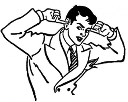 No Te Escucho Dibujo De Hombre Formal Tapandose Los Oidos Para