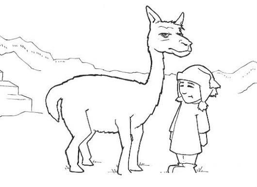 Dibujoperuano Dibujo De Un Chico Peruano Con Una Llama En El Machu