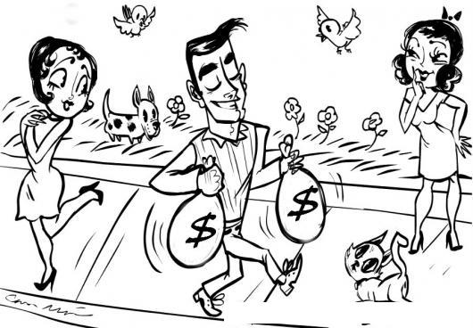 Mujeres Interesadas Dibujo Hombre Caminando Con Bolsas De Dinero