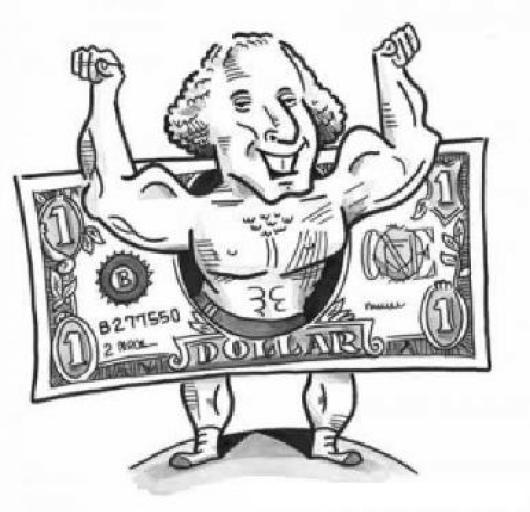 Dolar Fuerte Dibujo De Benjamin Franklin Musculoso Para
