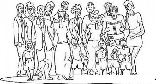Dibujo De Familion Para Pintar Y Colorear A Toda La Familia Reunida