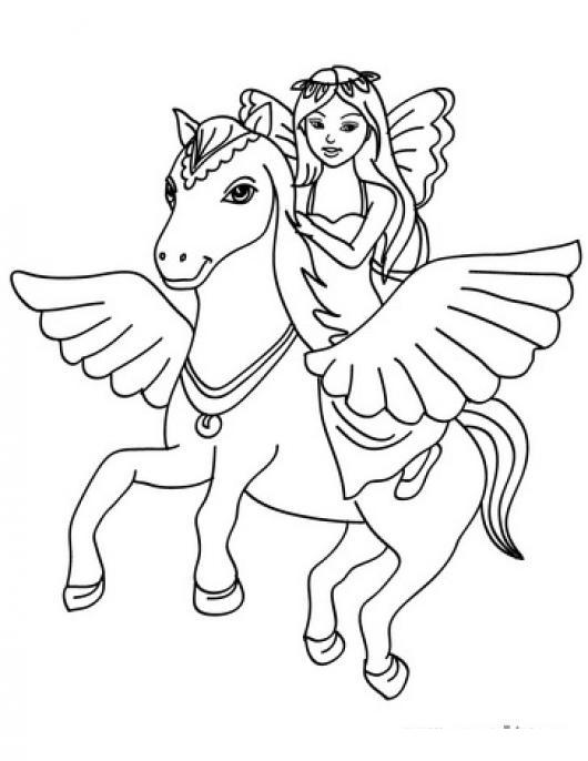 Dibujo De Hada En Caballo Volador Para Pintar Y Colorear