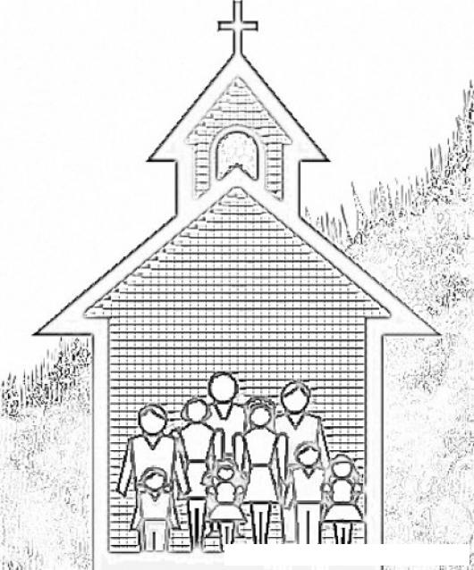Dibujo De Familia Cristiana En Una Iglesia Para Pintar Y Colorear ...