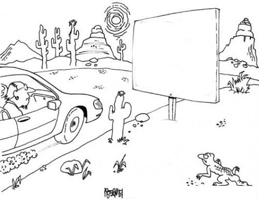 Rotulo En El Desierto Para Pintar Y Colorear Dibujo De Un Rotulo