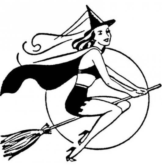 Dibujo De Brujita Bonita Volando En Su Escoba Con Fondo De Luna