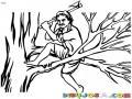 Dibujo De Lenador Cortando Una Rama De Un Arbol Con Un Hacha Para Pintar Y Colorear