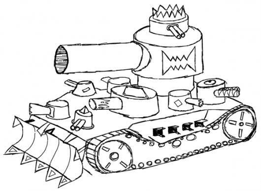 Dibujo De Un Tanque De Guerra Para Pintar Y Colorear  COLOREAR